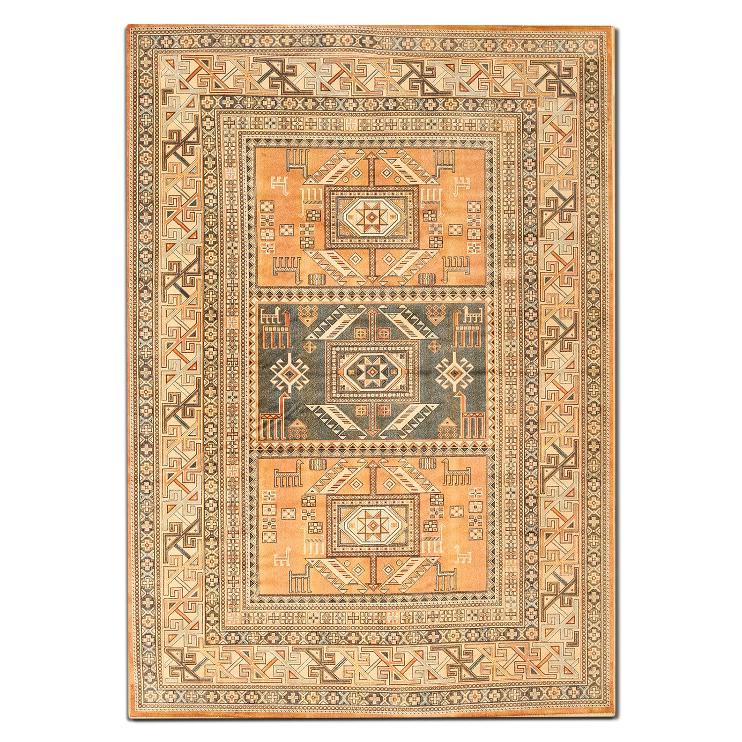Rugs - Sonoma 5' x 8' Area Rug - Aqua and Copper