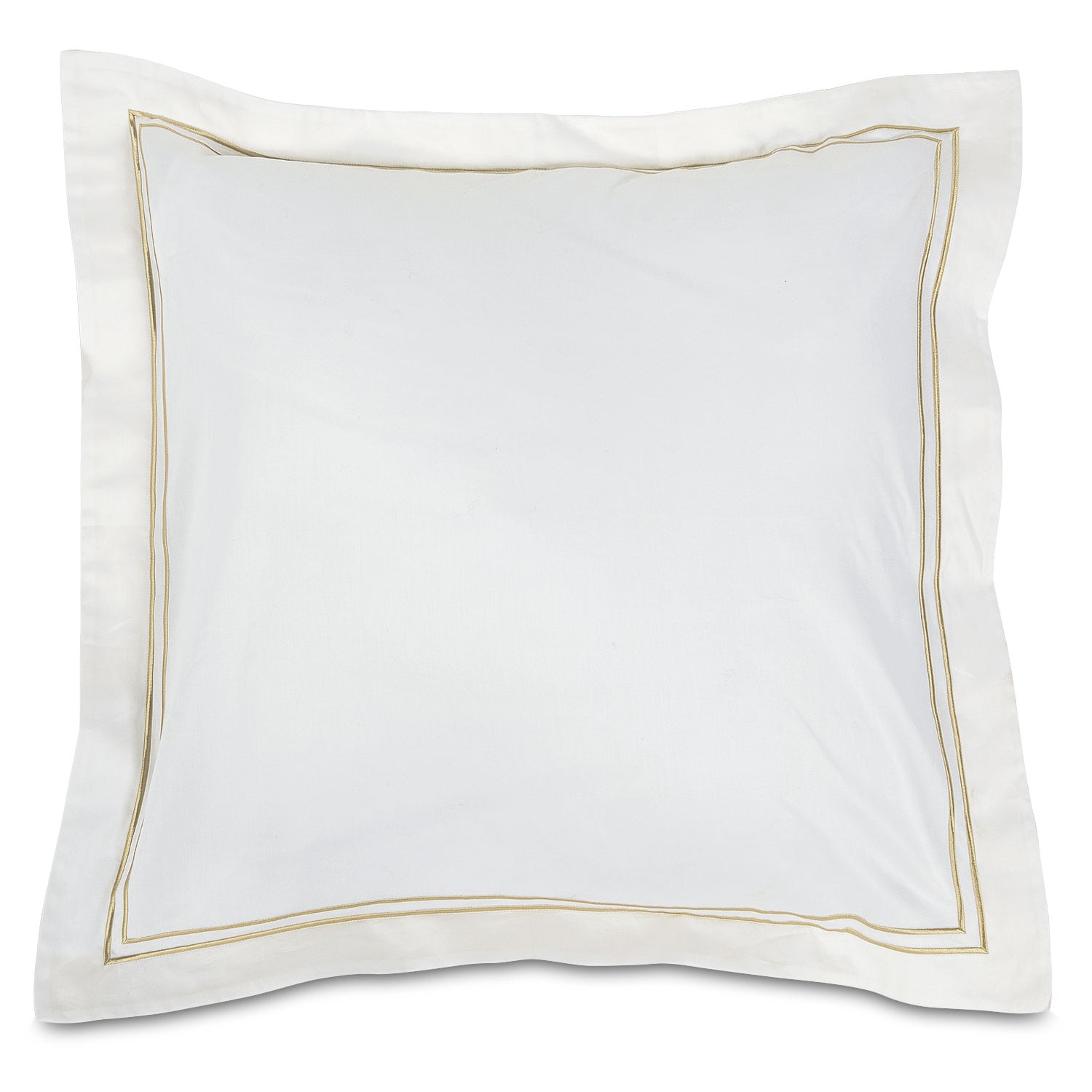 Hampton Embroidered Euro Sham Set of Two - White and Beige