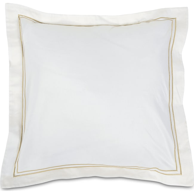 Accent and Occasional Furniture - Hampton Embroidered Euro Sham Set of Two - White and Beige