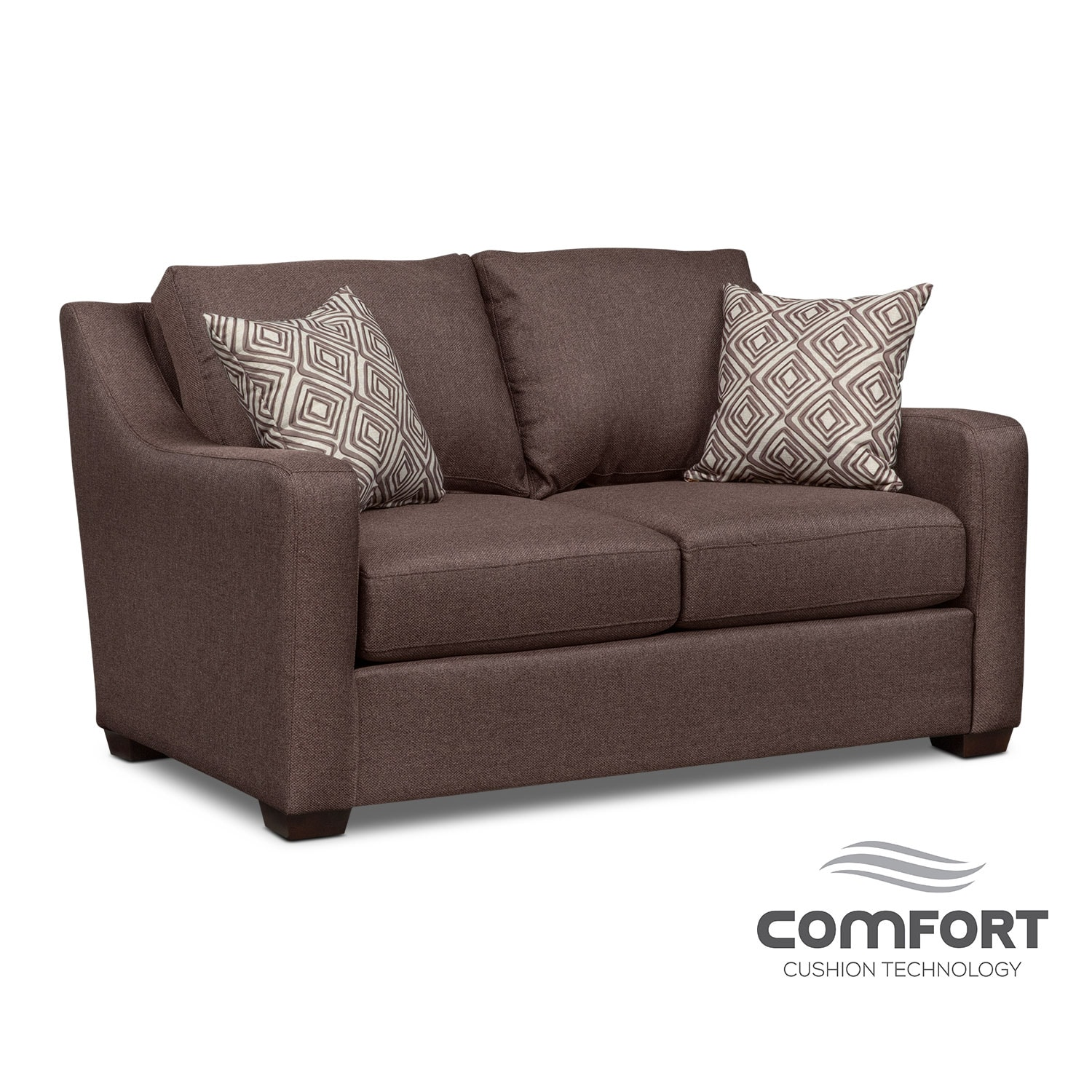 Living Room Furniture - Jules Comfort Loveseat - Brown