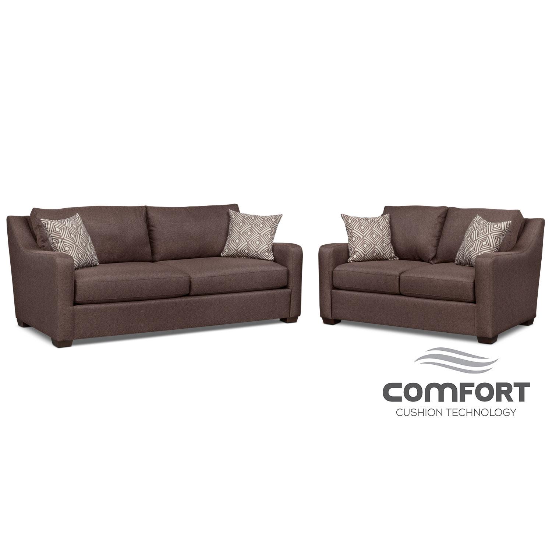 Living Room Furniture - Jules Comfort Sofa and Loveseat Set - Brown