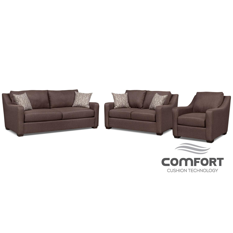 Living Room Furniture - Jules Comfort Sofa, Loveseat and Chair Set - Brown