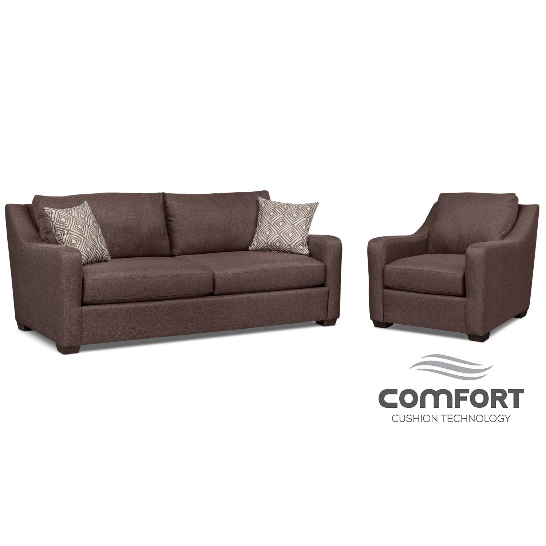 Jule Comfort Sofa and Chair Set - Brown
