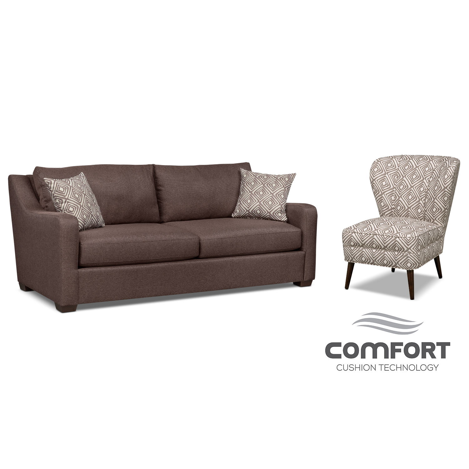 Jules Comfort Sofa and Accent Chair Set - Brown