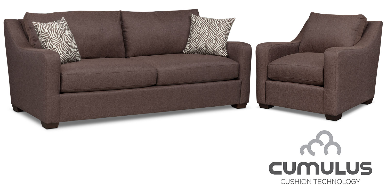 Living Room Furniture - Jules Cumulus Sofa and Chair Set - Brown
