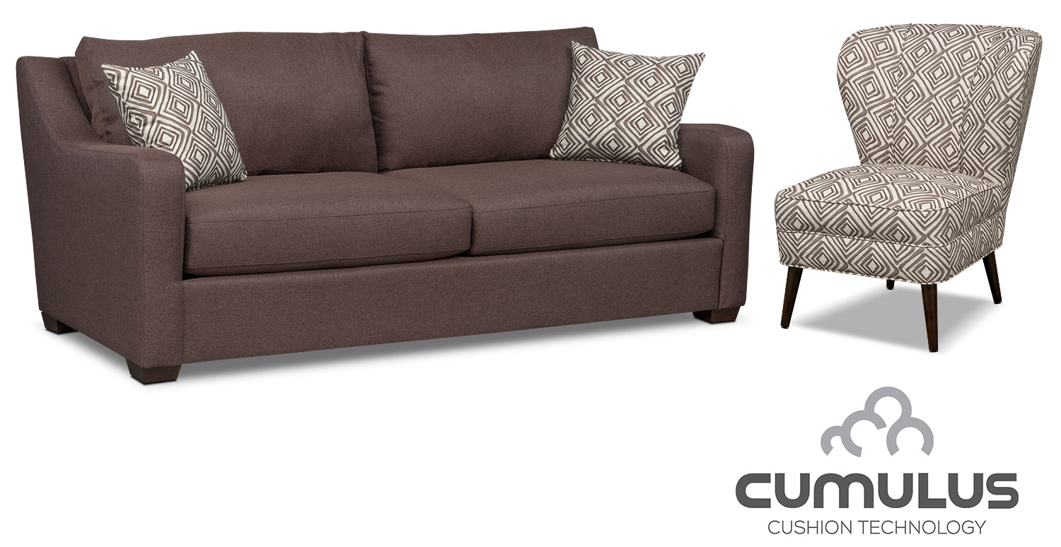 Living Room Furniture - Jules Cumulus Sofa and Accent Chair Set - Brown