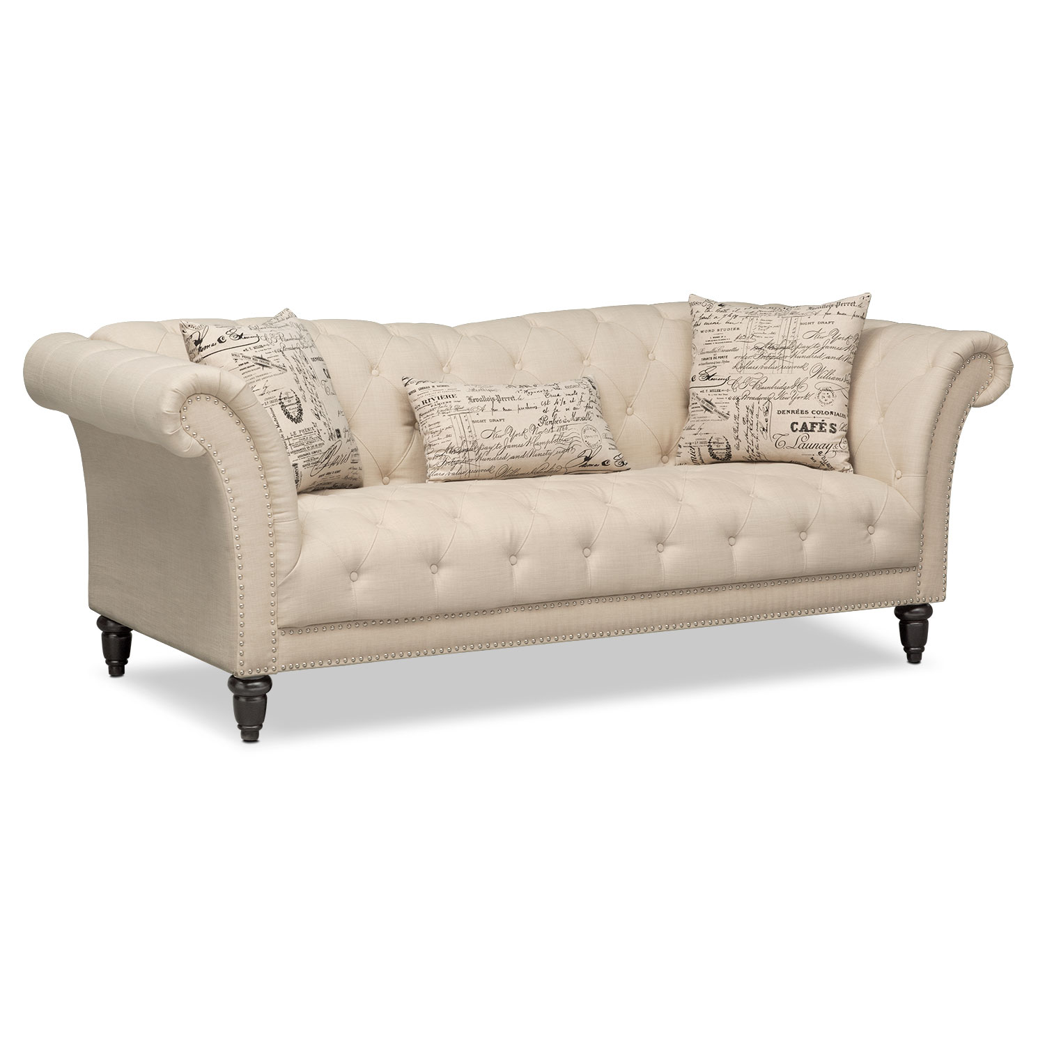 Marisol sofa beige value city furniture for Furniture sofas and couches