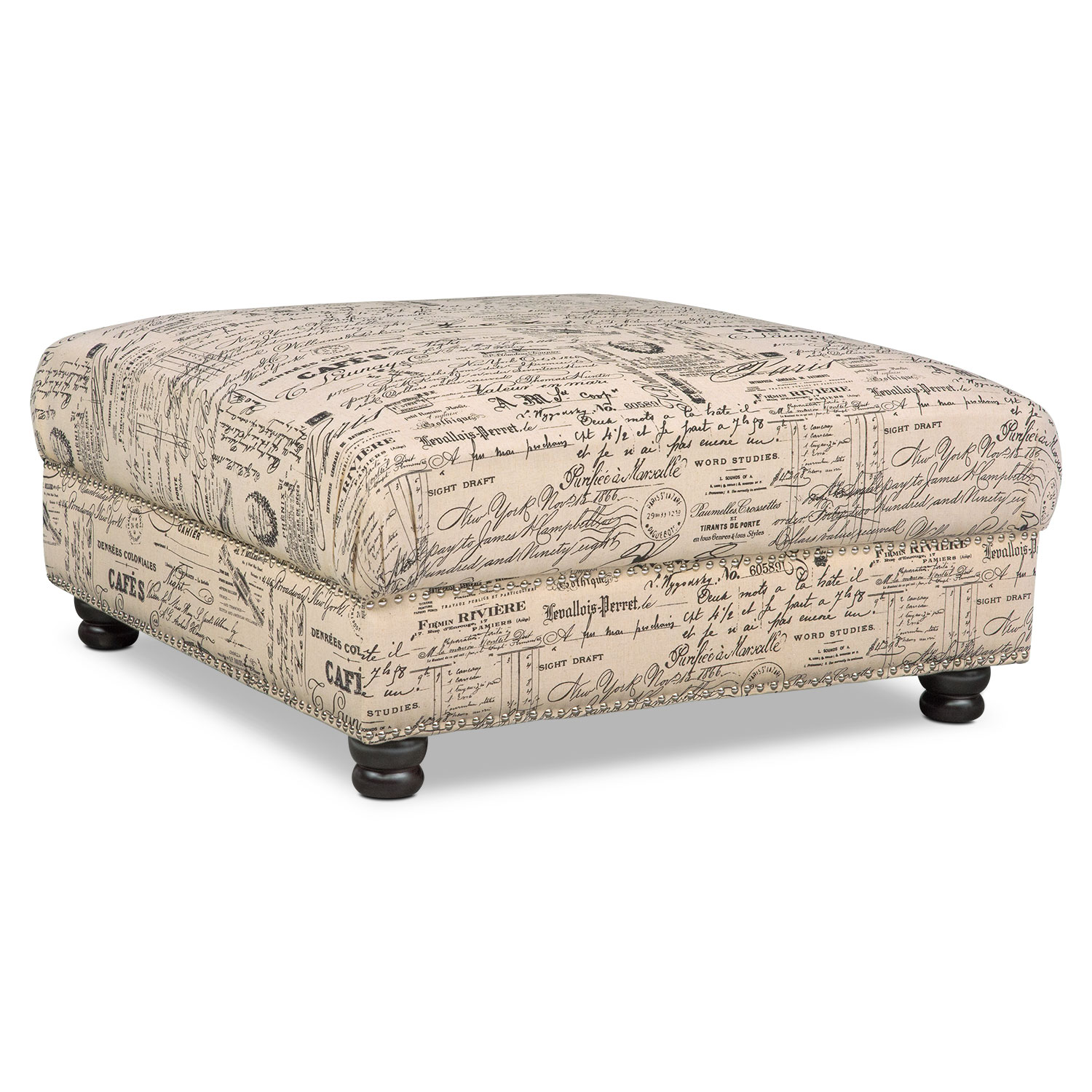 marisol ottoman script value city furniture and mattresses. Black Bedroom Furniture Sets. Home Design Ideas