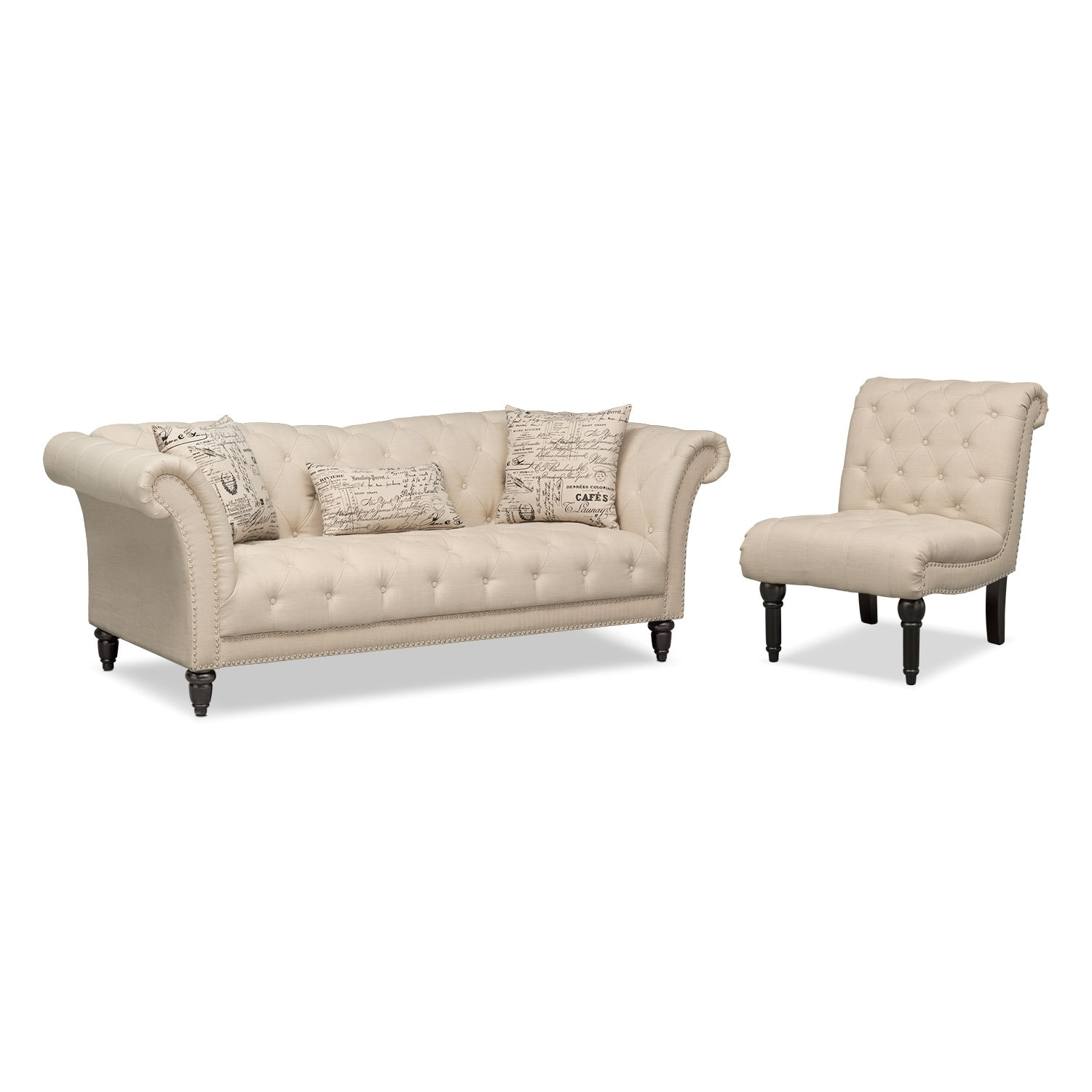 Marisol Sofa and Armless Chair Beige