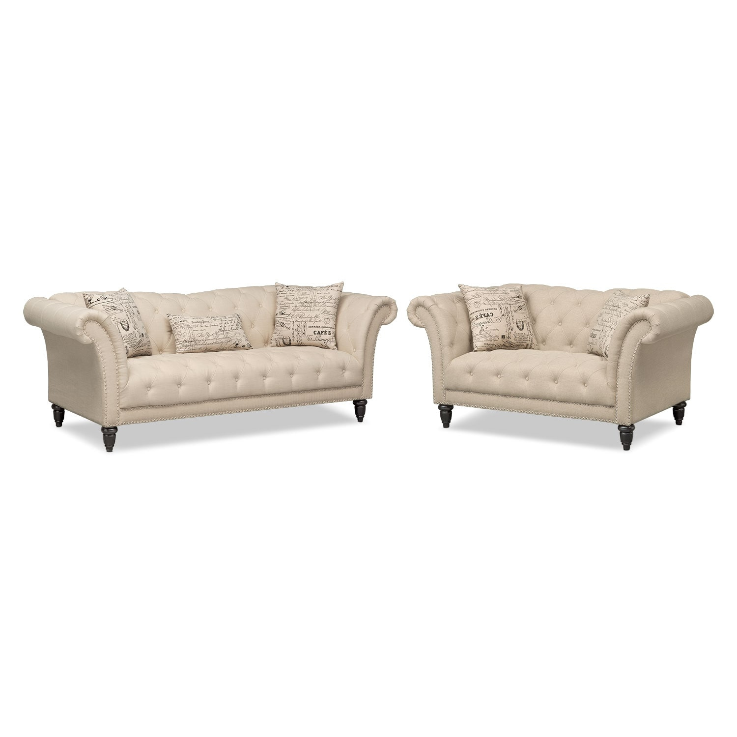 Living Room Furniture - Marisol Sofa and Loveseat - Beige