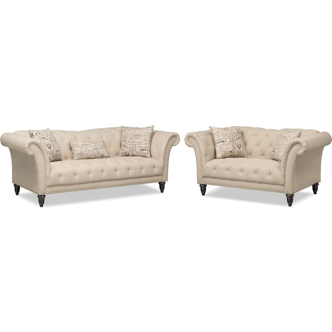 Living Room Furniture - Marisol Sofa and Loveseat - Beige