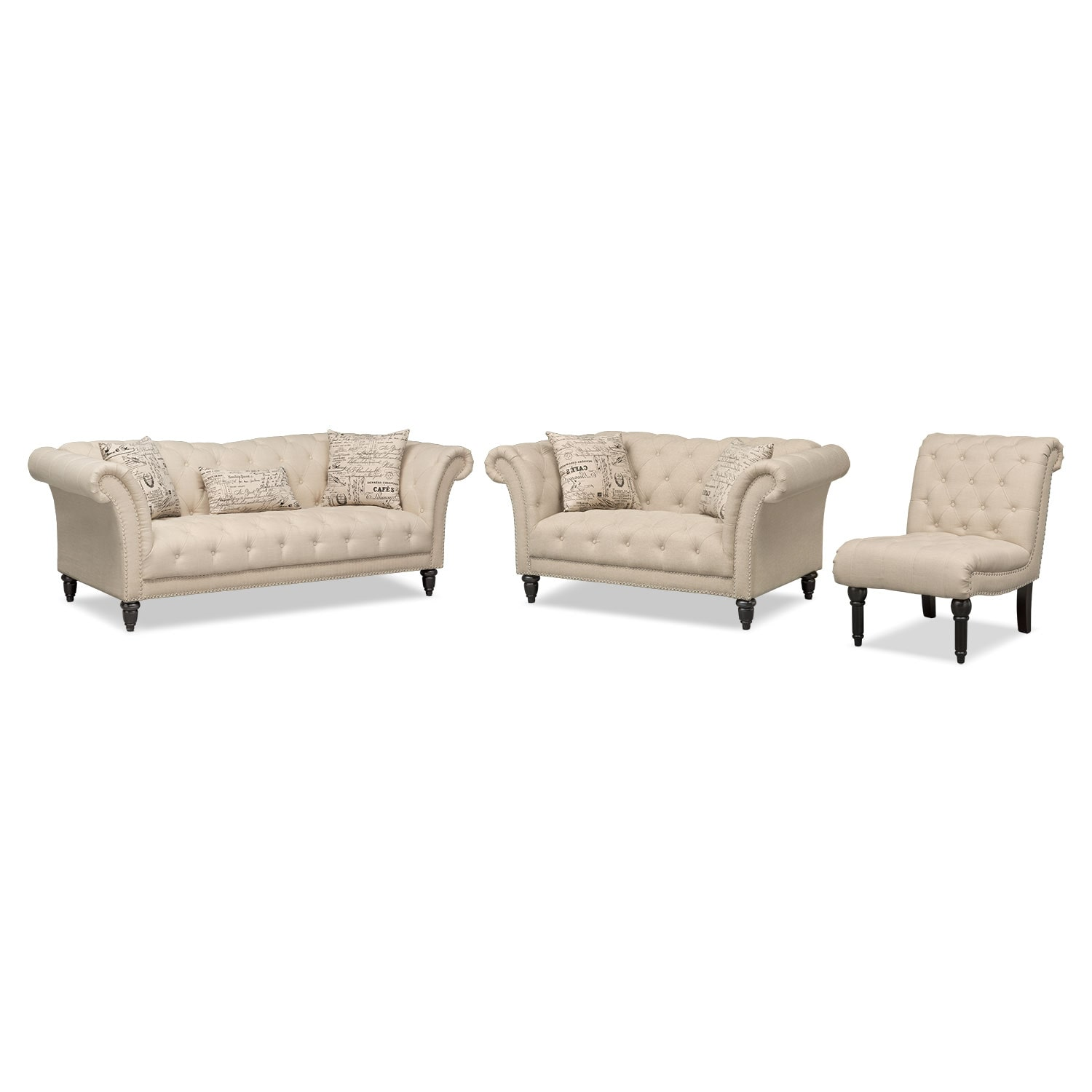 Marisol Sofa, Loveseat And Armless Chair Set   Beige