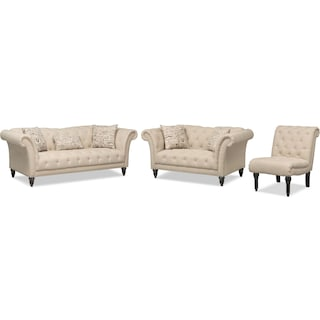 Marisol Sofa, Loveseat and Armless Chair Set