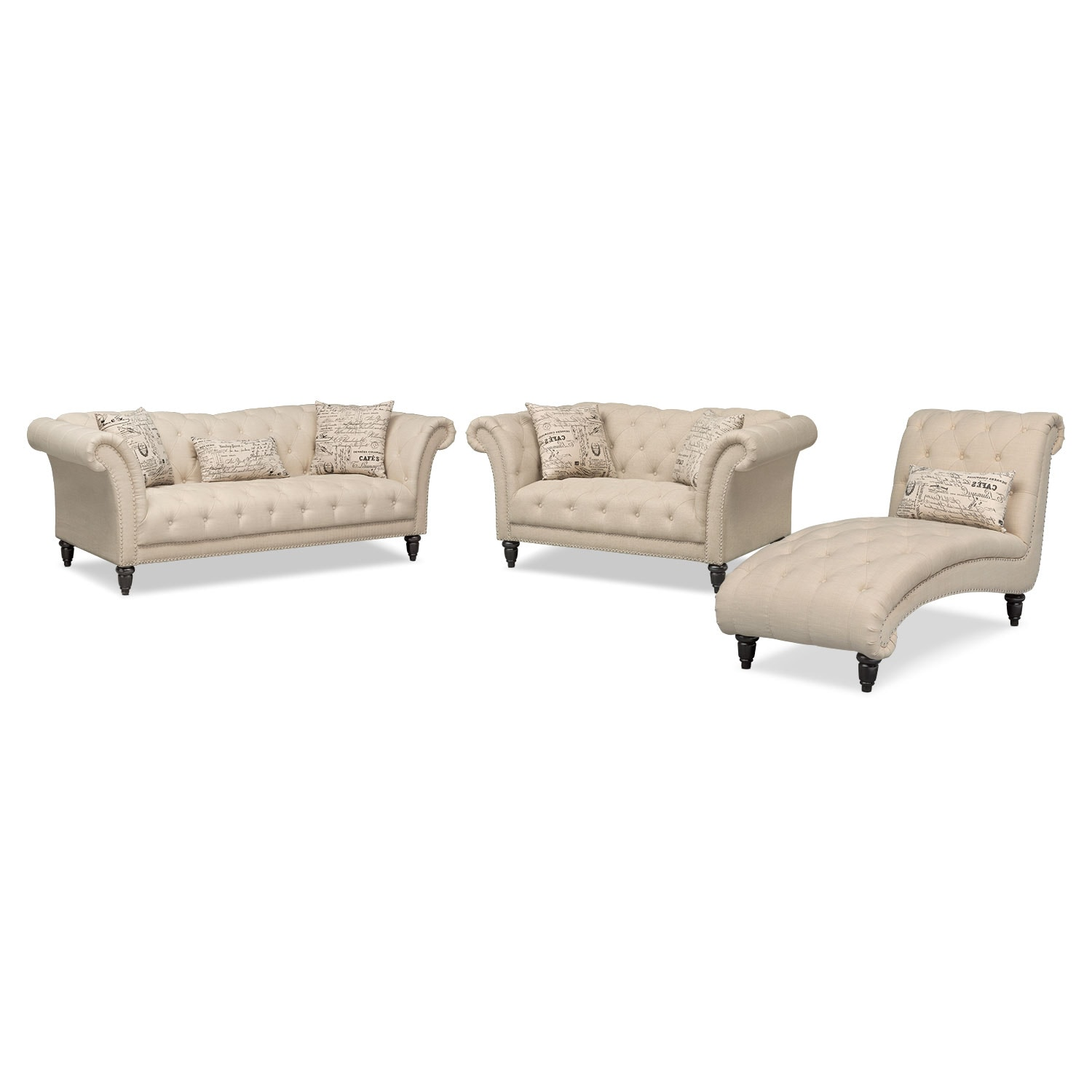 Marisol Sofa, Loveseat And Chaise Set   Beige