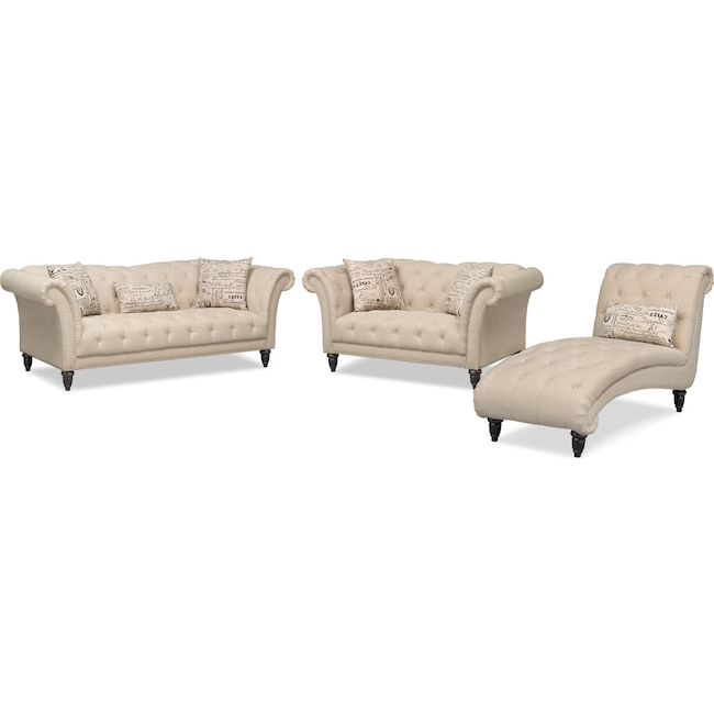 Living Room Furniture - Marisol Sofa, Loveseat and Chaise Set