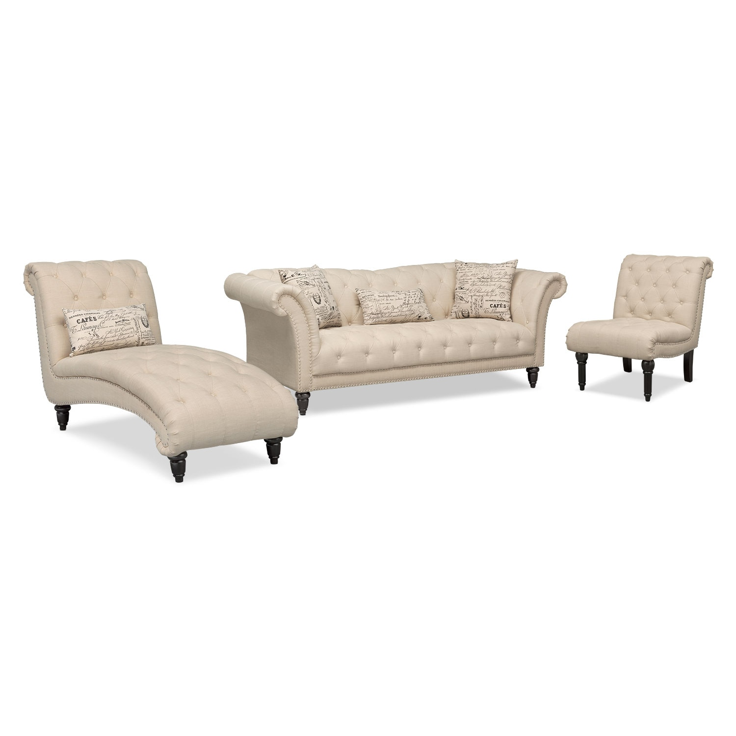 Marisol Sofa, Chaise and Armless Chair  Beige  Value