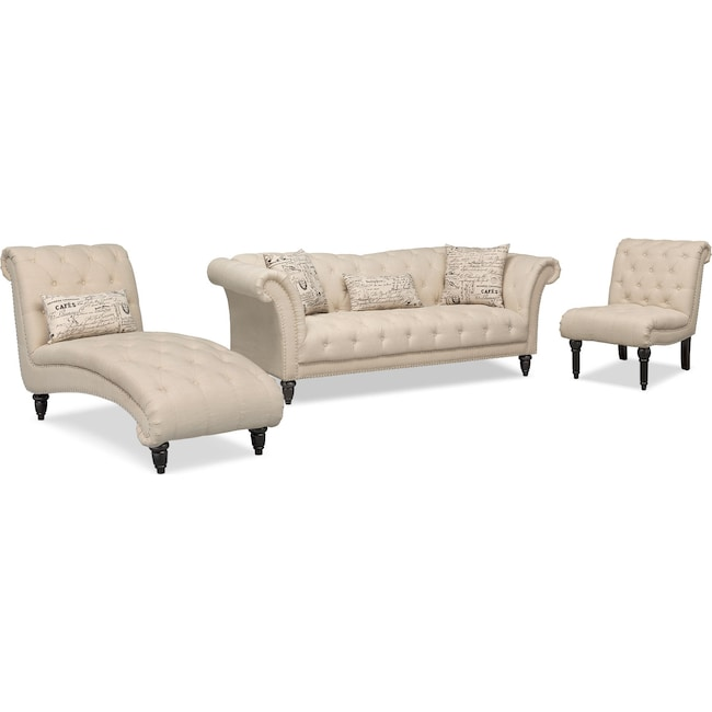 Living Room Furniture - Marisol Sofa, Chaise and Armless Chair - Beige
