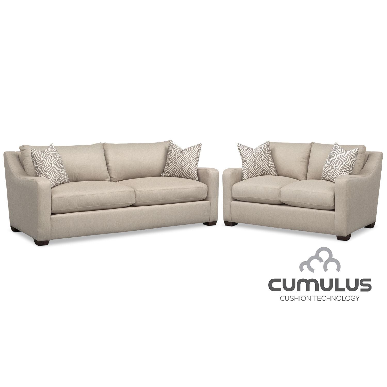 Living Room Furniture - Jules Cumulus Sofa and Loveseat Set - Cream