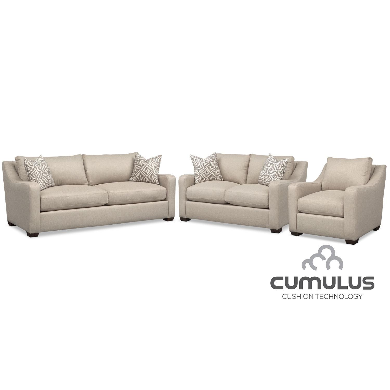 Living Room Furniture - Jules Cumulus Sofa, Loveseat and Chair Set - Cream