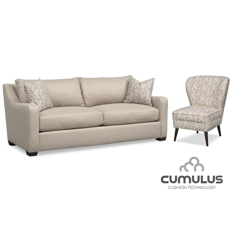 Living Room Furniture - Jules Cumulus Sofa and Accent Chair Set - Cream