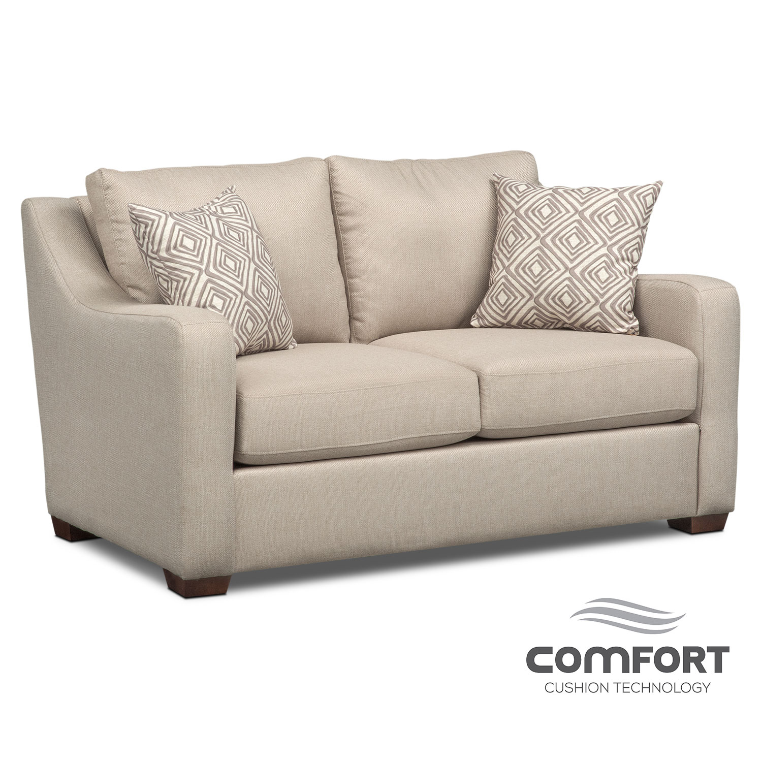 Living Room Furniture - Jules Comfort Loveseat - Cream