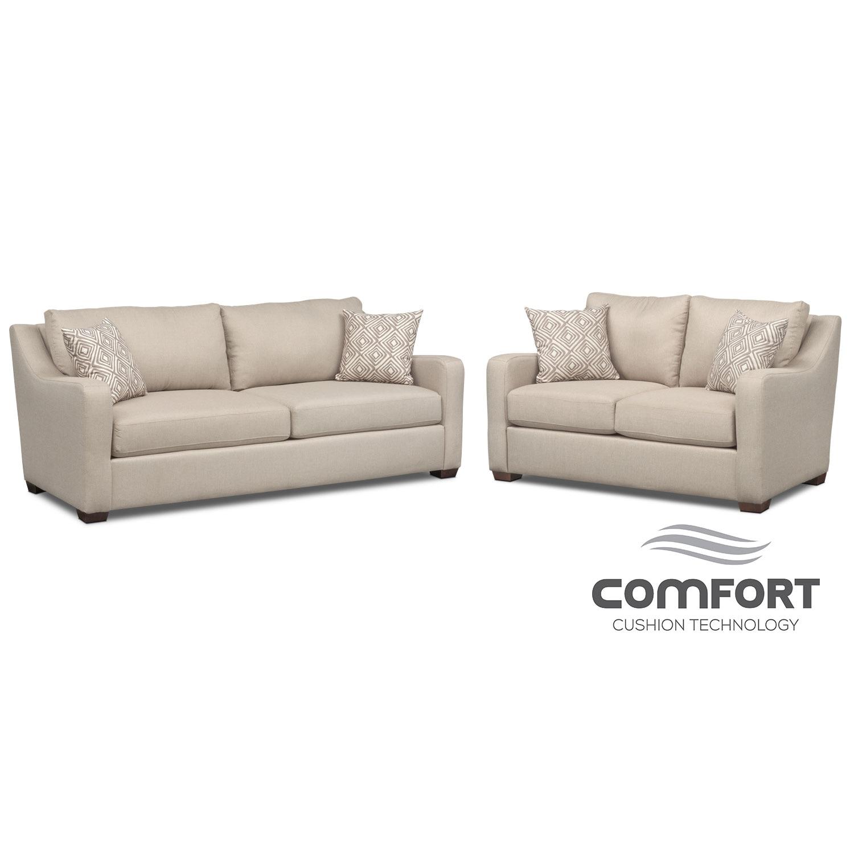 Living Room Furniture - Jules Comfort Sofa and Loveseat Set - Cream