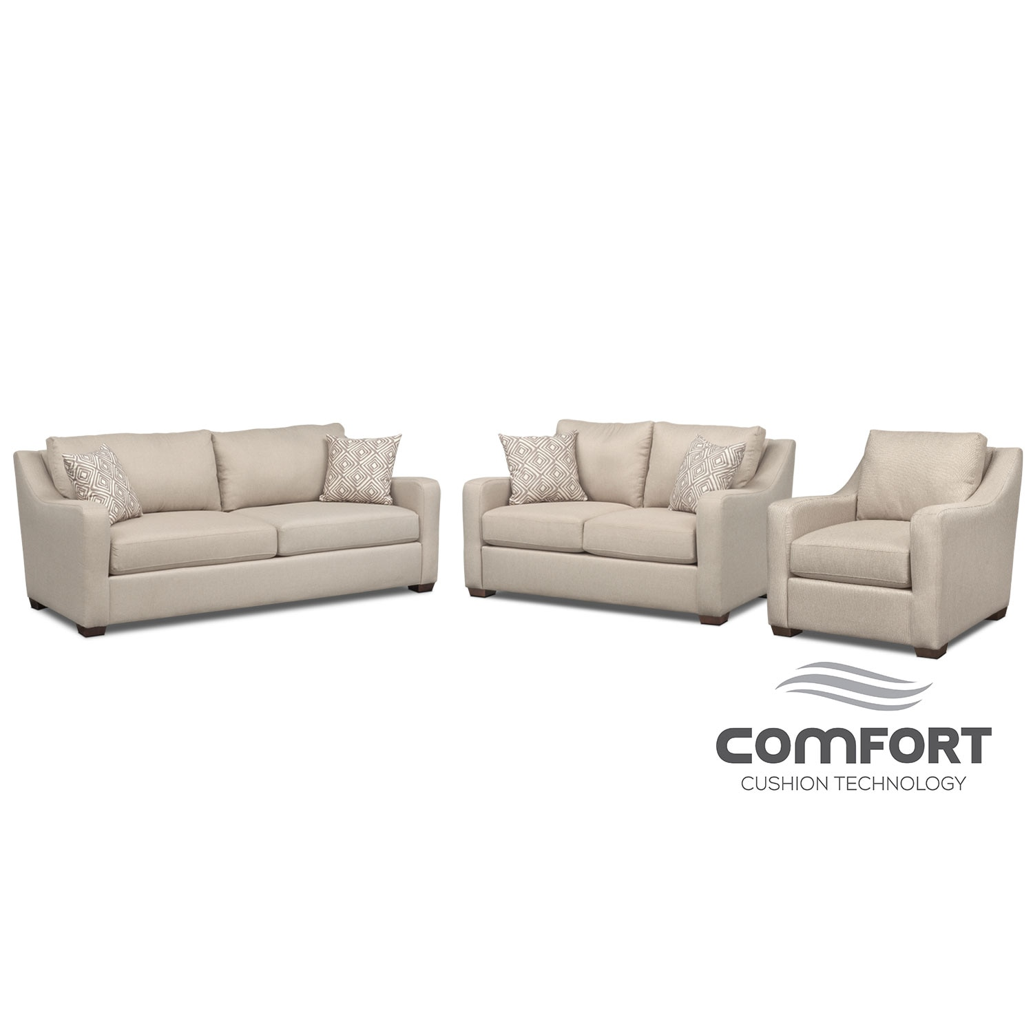 Living Room Furniture - Jules Comfort Sofa, Loveseat and Chair Set - Cream