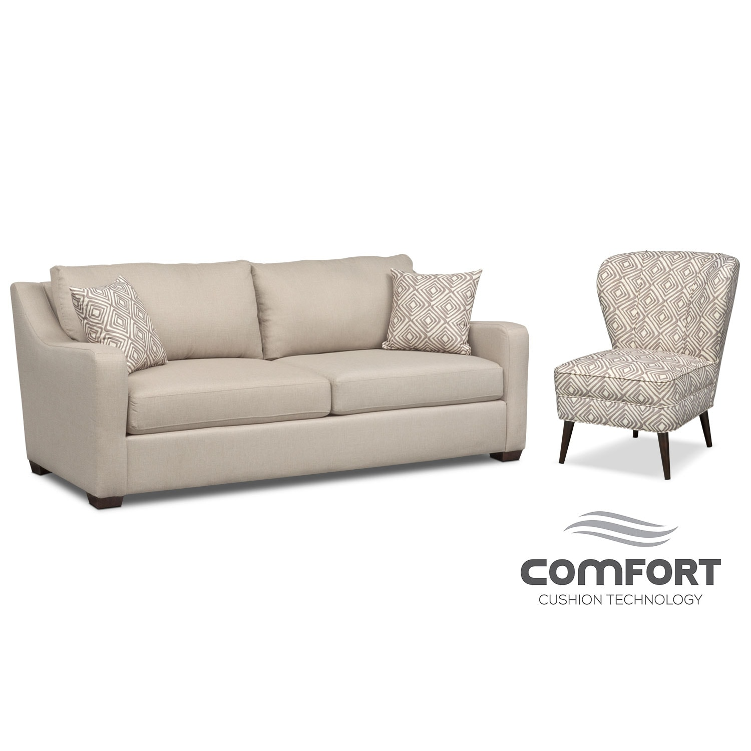 Living Room Furniture - Jules Comfort Sofa and Accent Chair Set - Cream