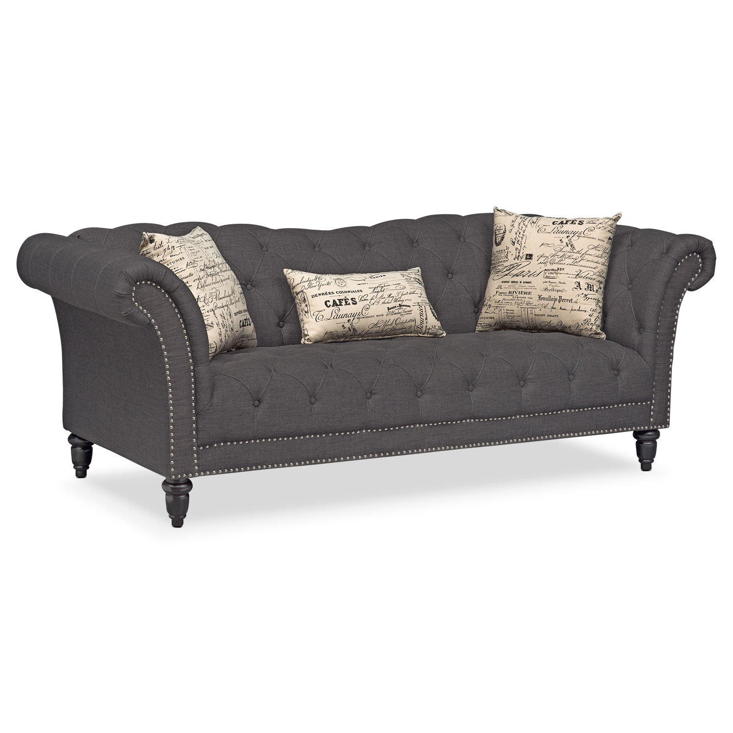 marisol sofa - charcoal | value city furniture