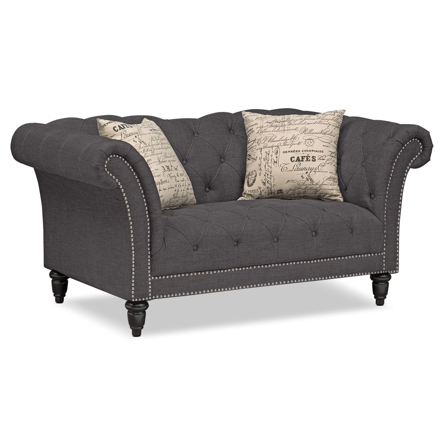 Marisol Sofa and Loveseat Set Charcoal