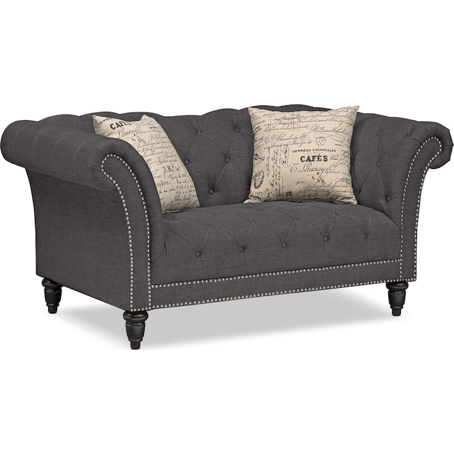 Living Room Furniture - Marisol Loveseat - Charcoal