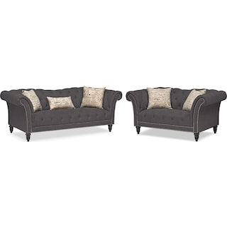Marisol Sofa and Loveseat Set - Charcoal