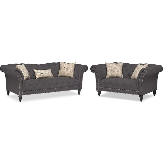 Living Room Furniture - Marisol Sofa and Loveseat Set - Charcoal
