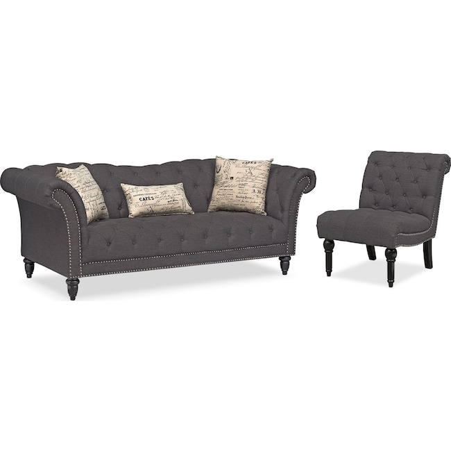 Living Room Furniture - Marisol Sofa and Armless Chair - Charcoal