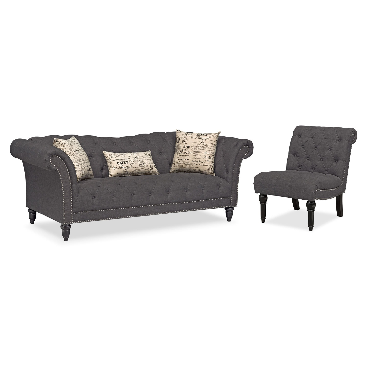 Marisol Sofa And Armless Chair   Charcoal