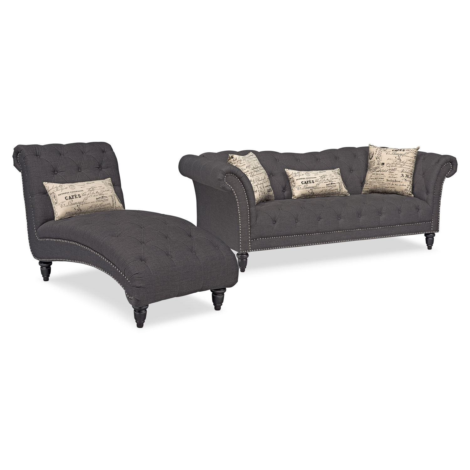 Marisol Sofa And Chaise Set Charcoal