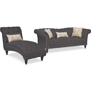Marisol Sofa and Chaise Set - Charcoal