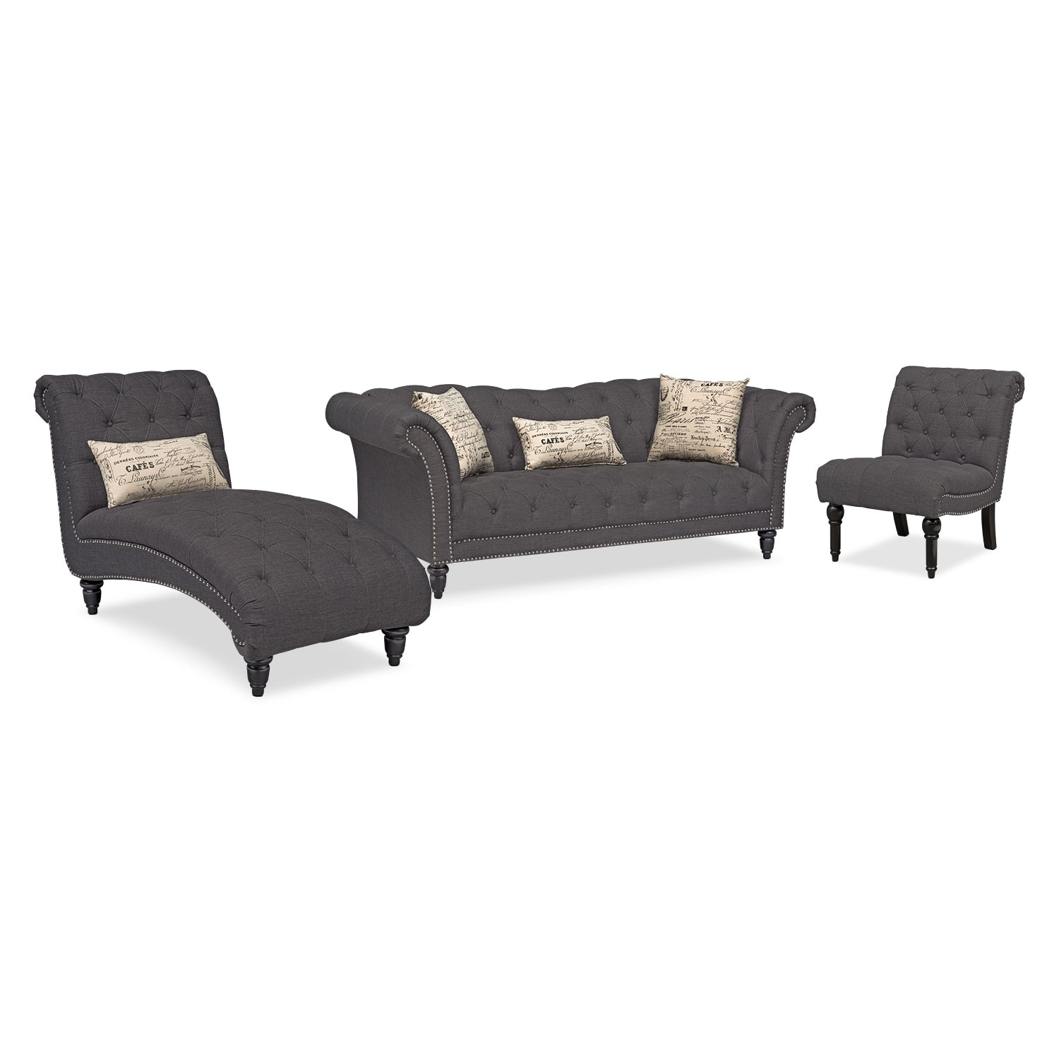 Marisol Sofa, Chaise and Armless Chair Set - Charcoal