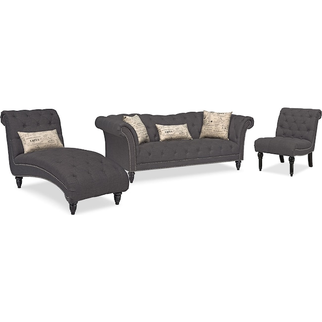 Living Room Furniture - Marisol Sofa, Chaise and Armless Chair Set - Charcoal