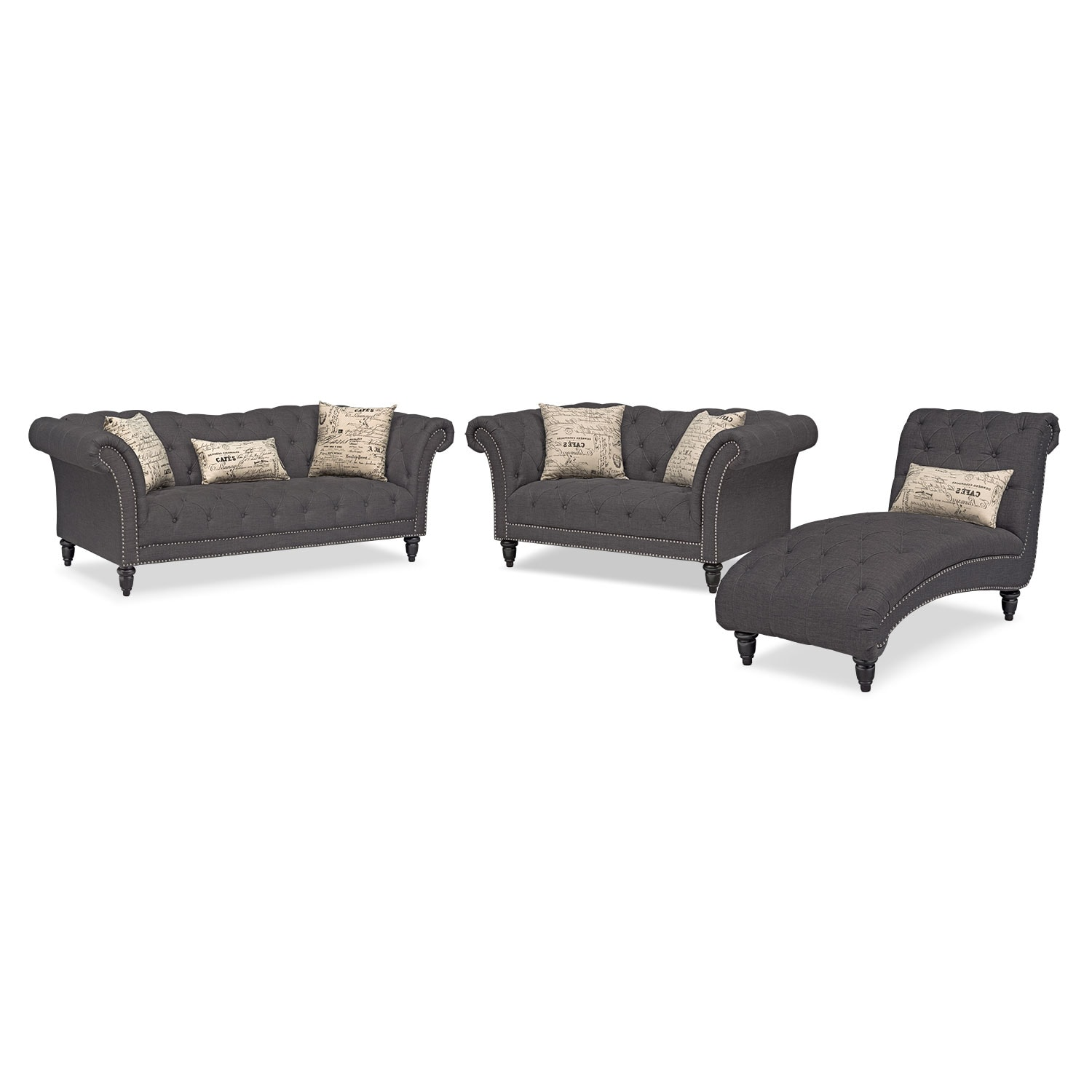 Marisol Sofa, Loveseat and Chaise Set - Charcoal