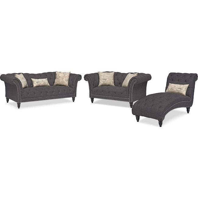 Living Room Furniture - Marisol Sofa, Loveseat and Chaise Set - Charcoal