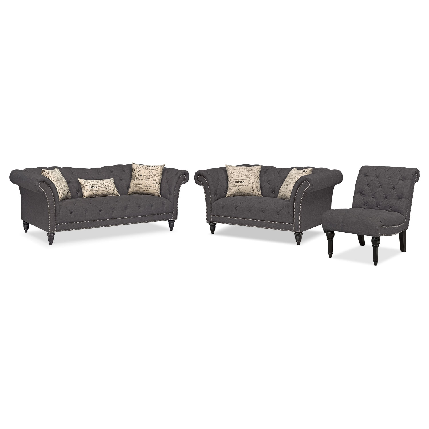 Marisol Sofa, Loveseat and Armless Chair Set - Charcoal