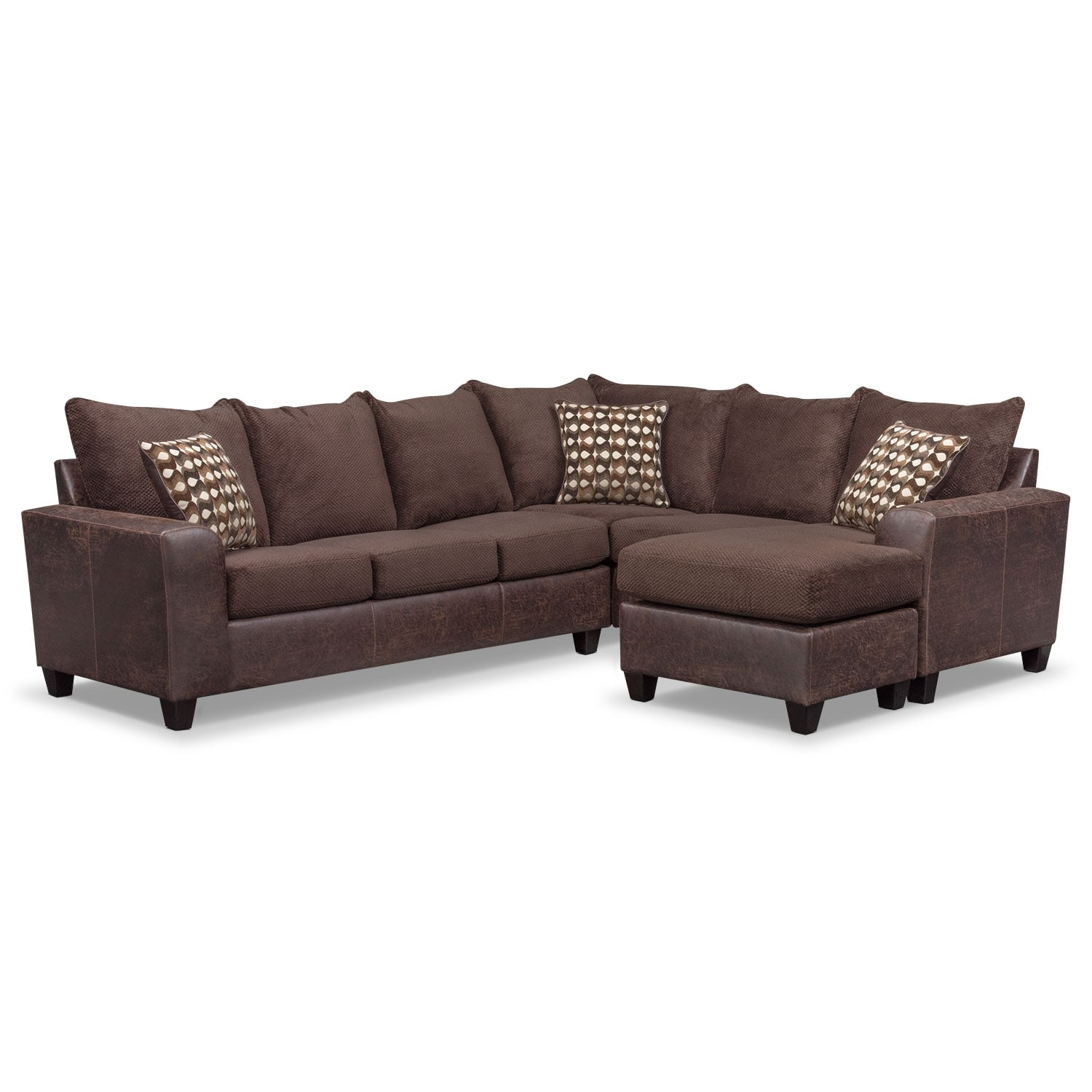Brando 3-Piece Sectional with Modular Chaise - Chocolate | Value ...