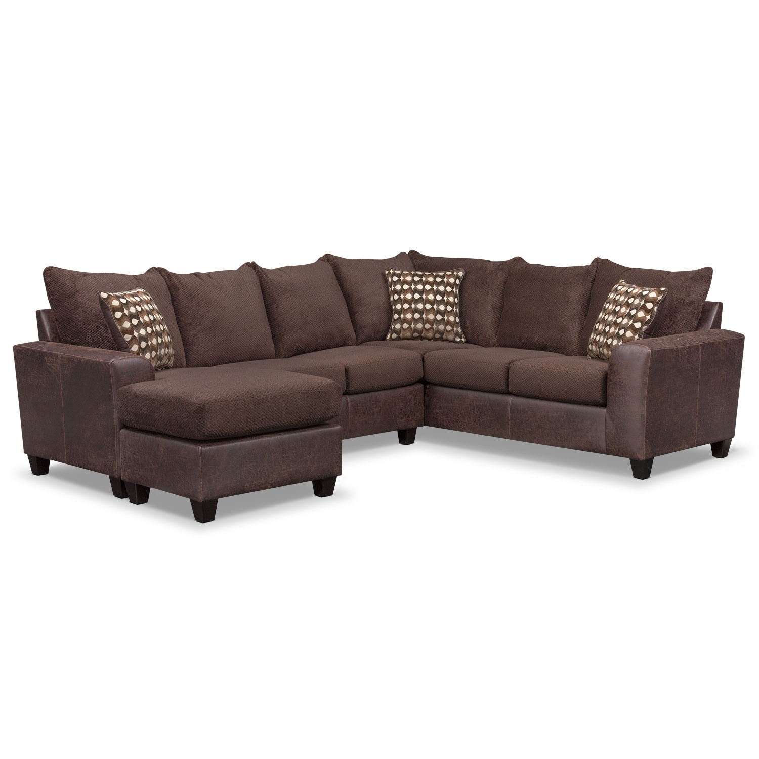Jessa place 3 piece sectional - Brando 3piece Sectional With Modular Chaise Chocolate By Factory Outlet 3 Piece Sectional Dimensions
