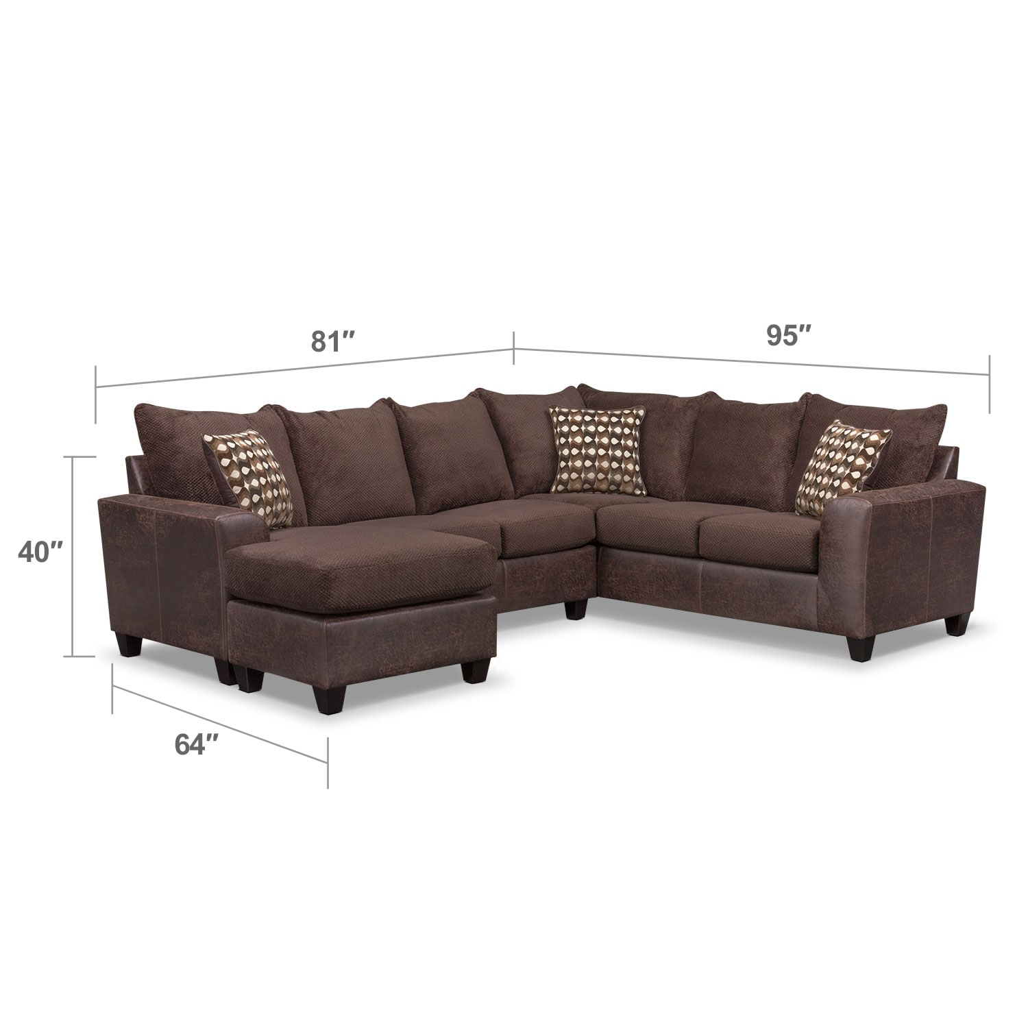 Living Room Furniture - Brando 3-Piece Sectional with Modular Chaise - Chocolate