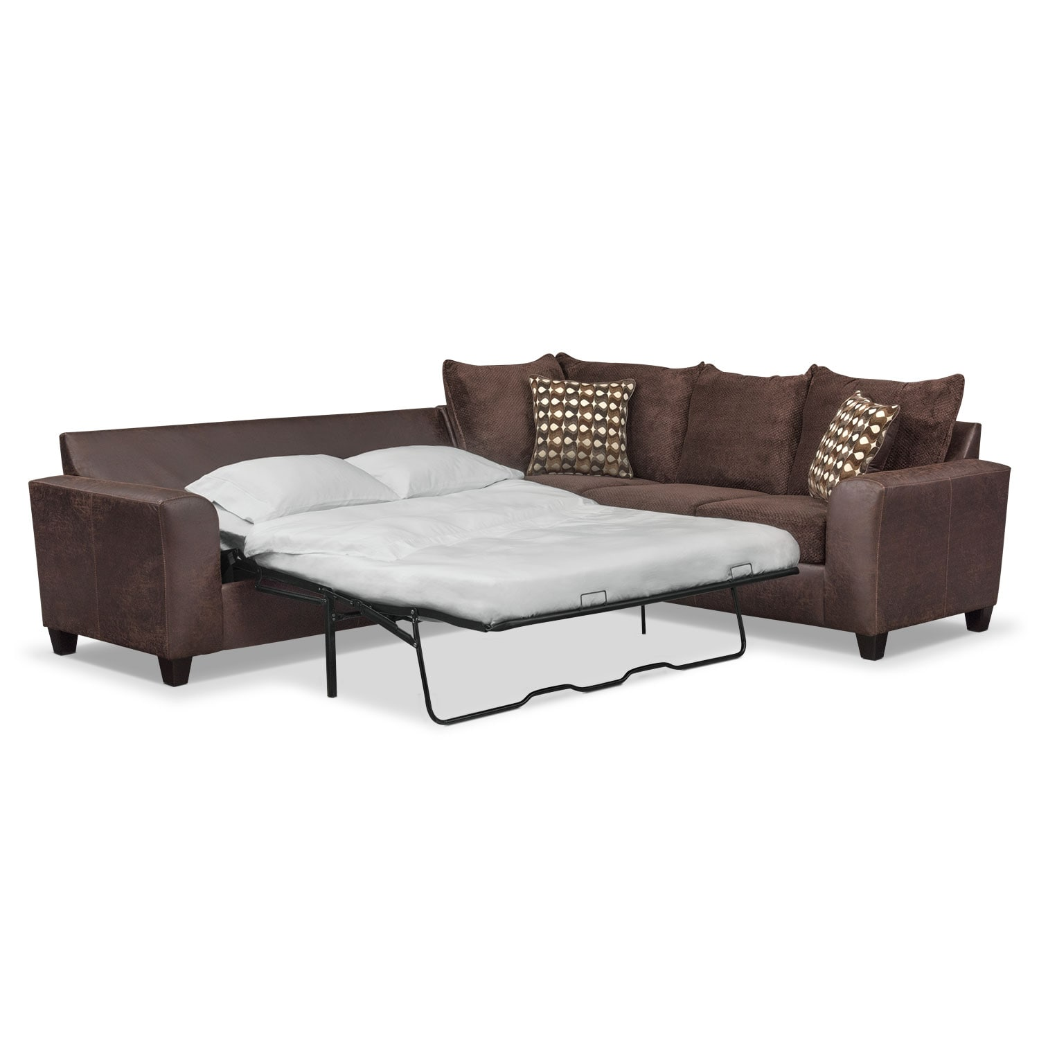 Brando 2-Piece Innerspring Sleeper Sectional - Chocolate