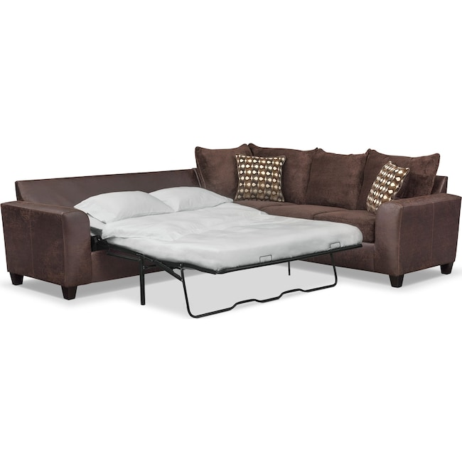 Living Room Furniture - Brando 2-Piece Memory Foam Sleeper Sectional - Chocolate