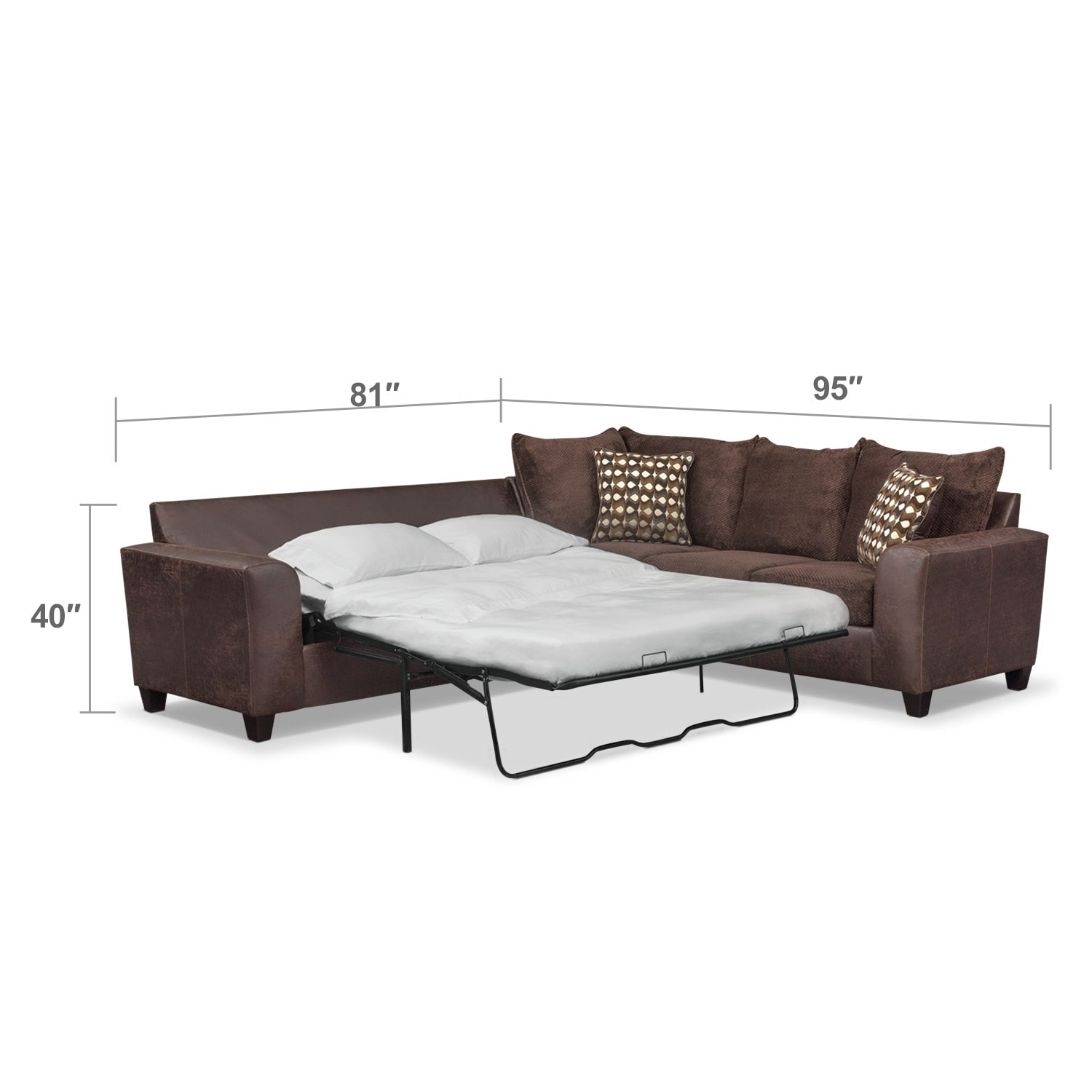 Living Room Furniture - Brando 2-Piece Innerspring Sleeper Sectional - Chocolate