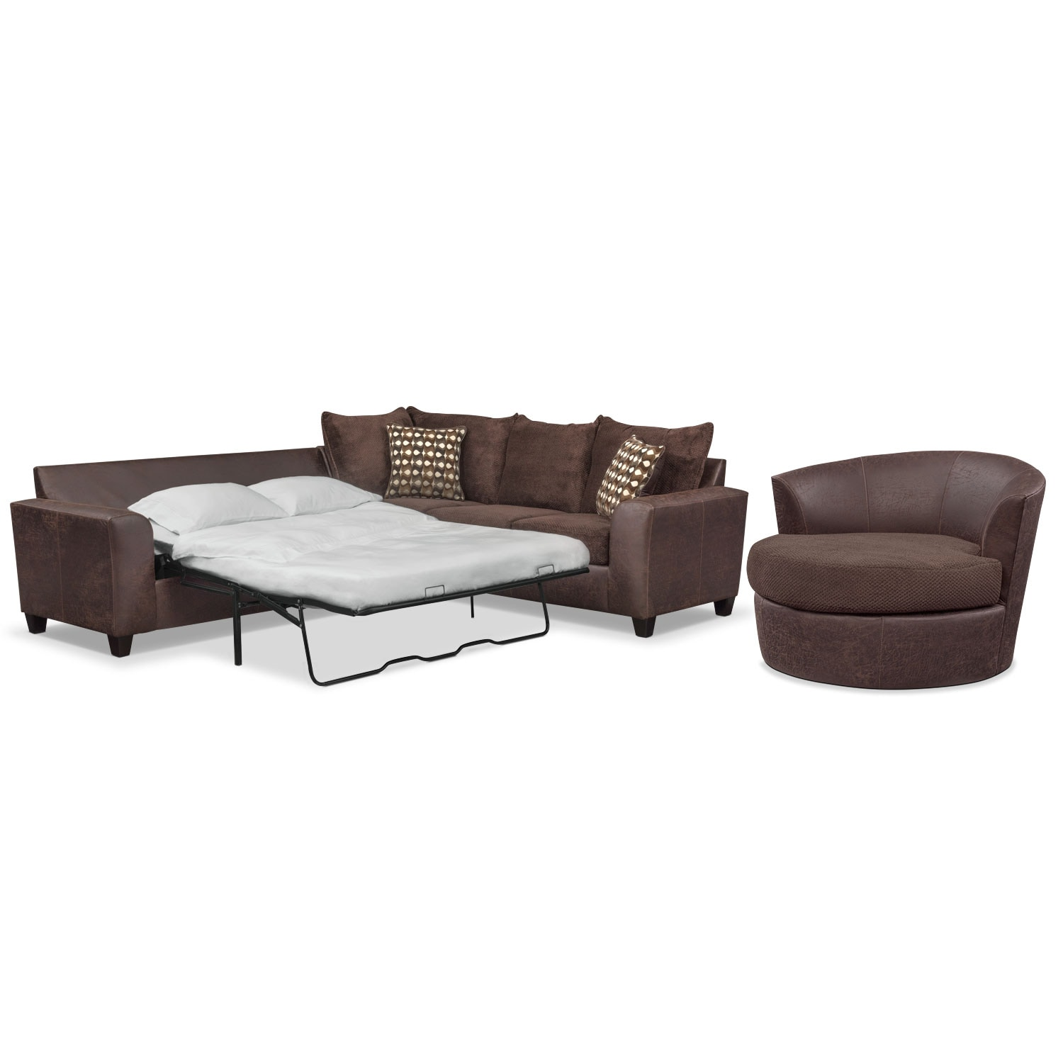 Living Room Furniture - Brando 2-Piece Innerspring Sleeper Sectional and Swivel Chair Set - Chocolate