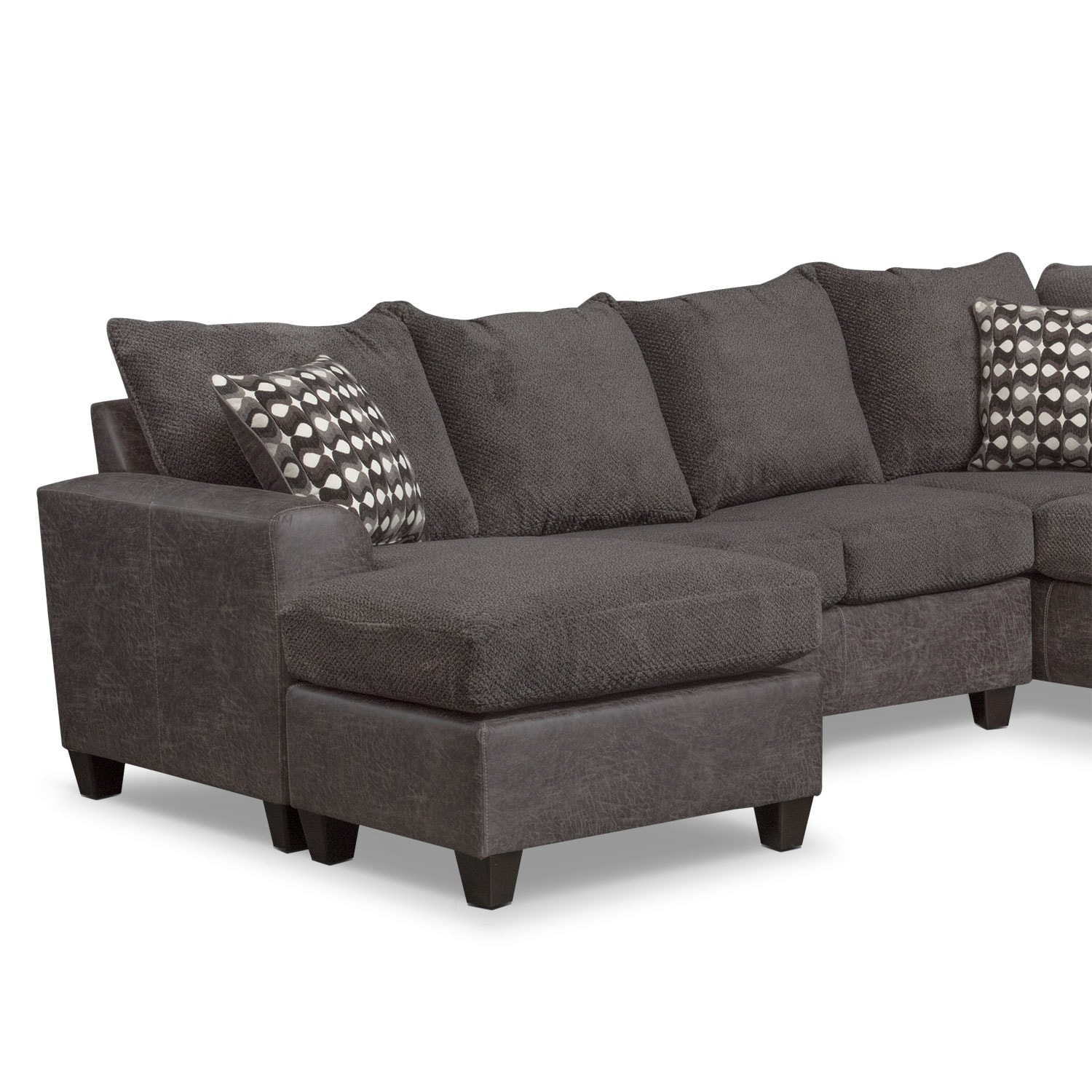 Furniture Com: Brando 3-Piece Sectional With Modular Chaise